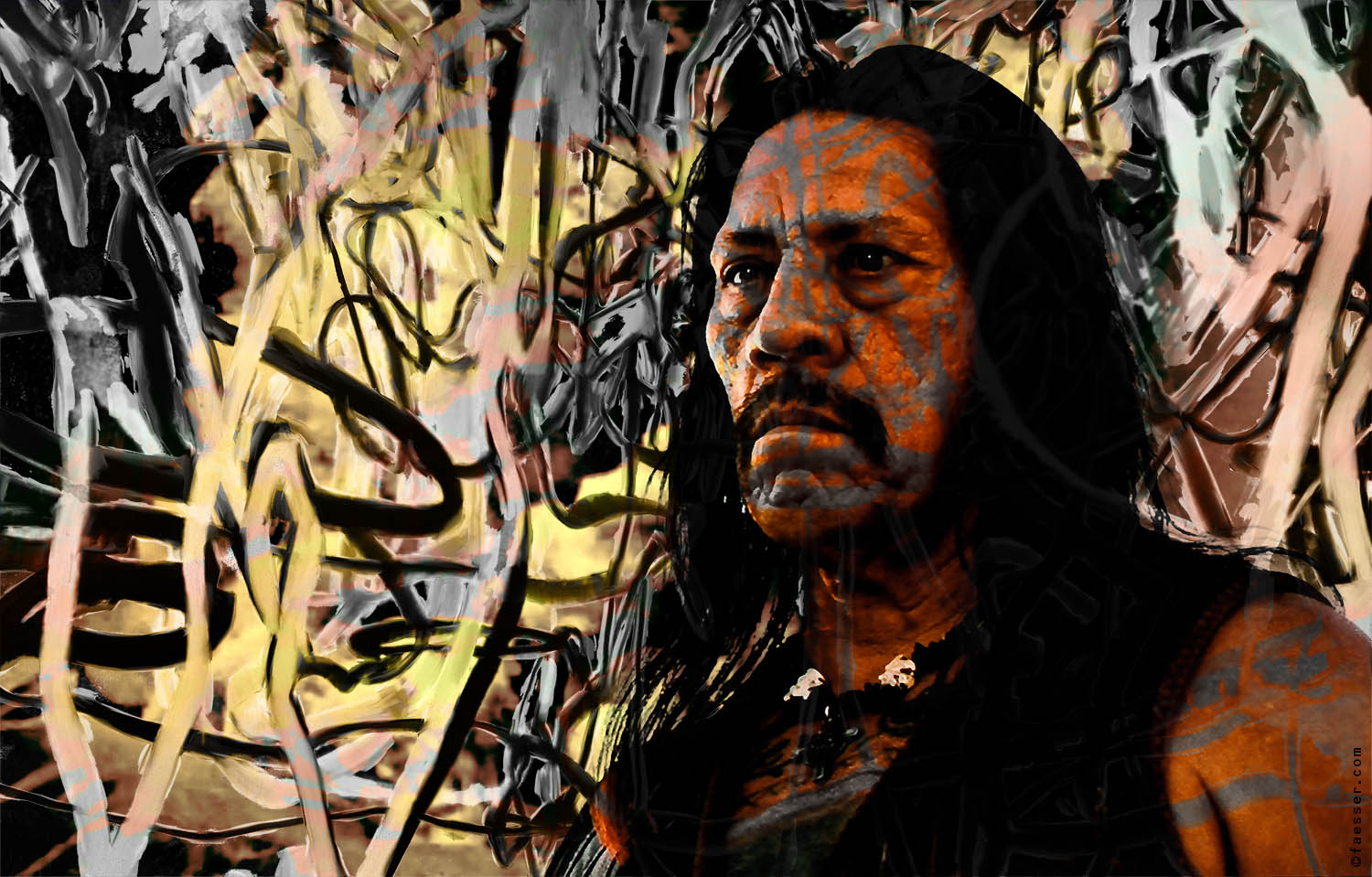 Machete: Danny Trejo from the film Machete with abstract overpainting; artist Roland Faesser, sculptor and painter 2017