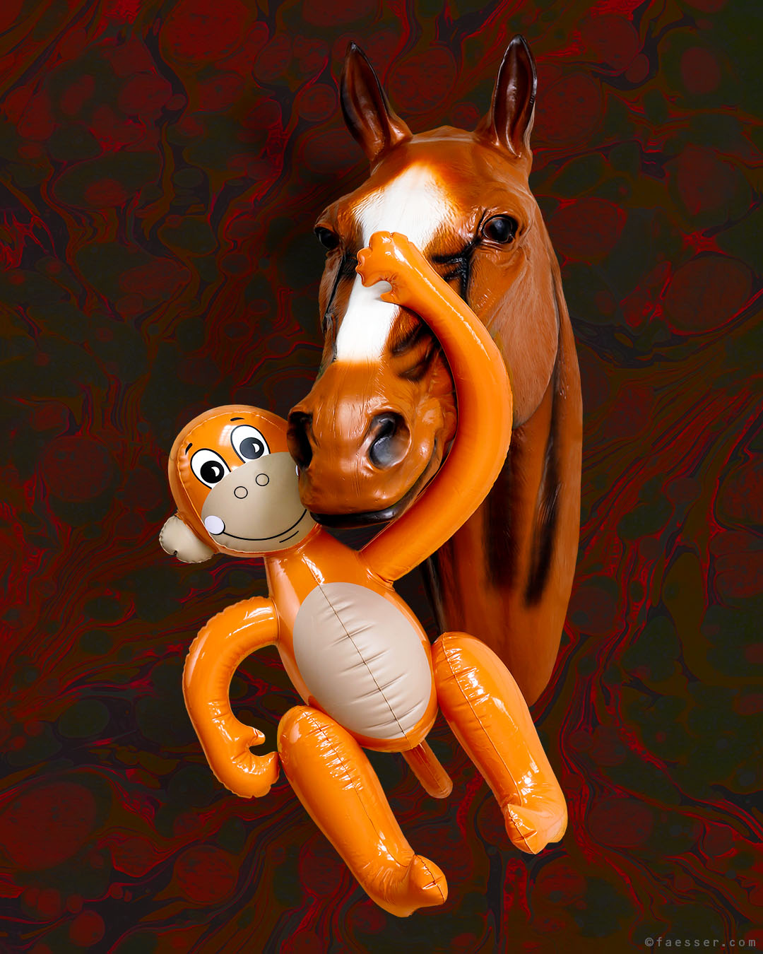 Horse Whisperer; Koons monkey as a horse whisperer in memory to Mr. Ed from an US comedy series; work of art as figurative sculpture; artist Roland Faesser, sculptor and painter 2016