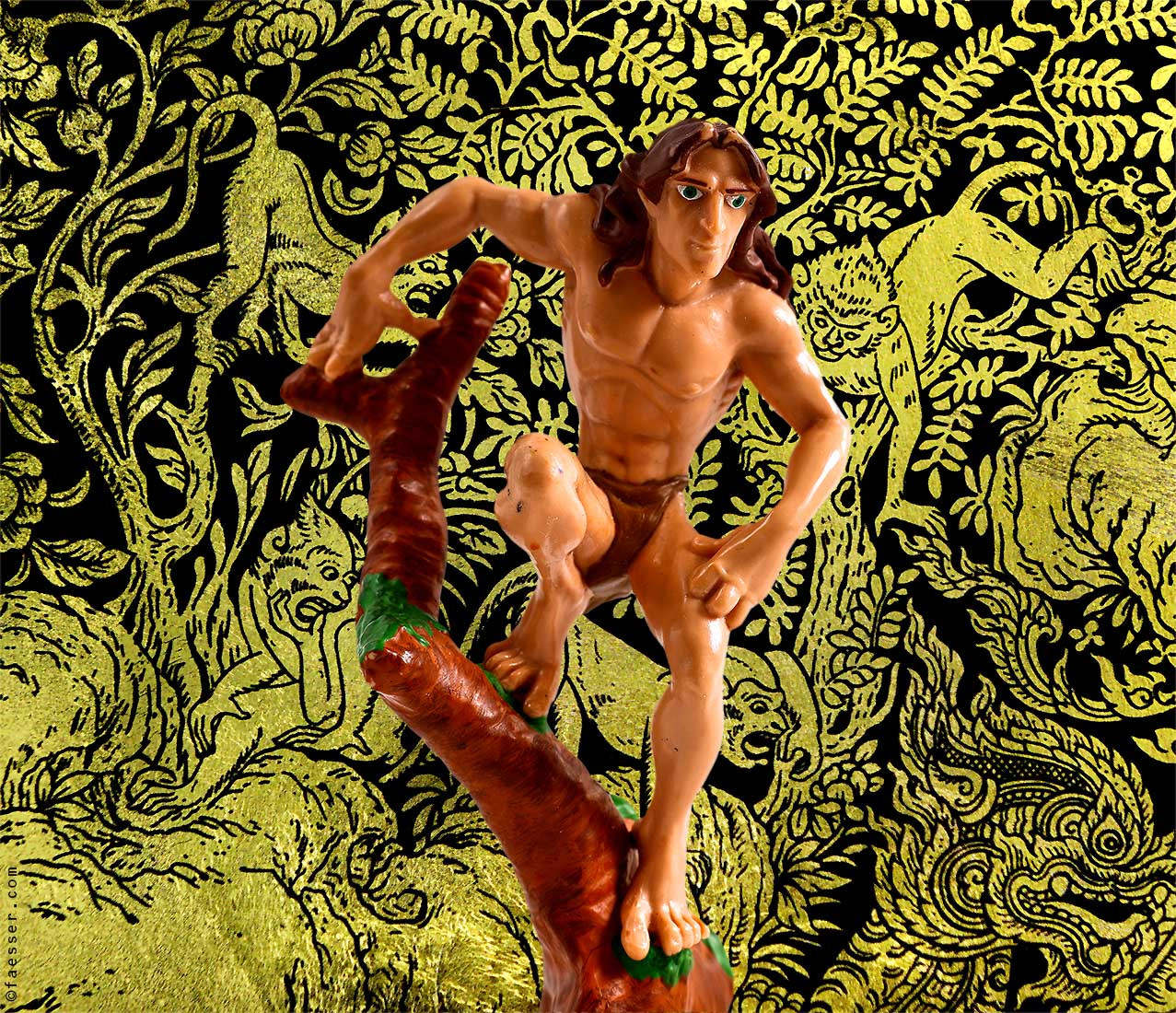 Jungle drawing with 3D Tarzan figure; work of art as digital painting; artist Roland Faesser, sculptor and painter 2018