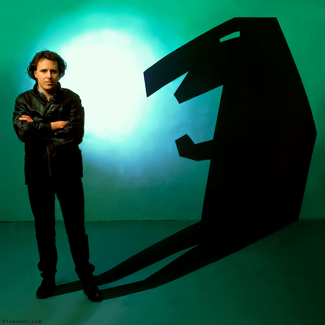 Animal Trainer: self-portrait with painted animal shadow; artist Roland Faesser, sculptor and painter 1985