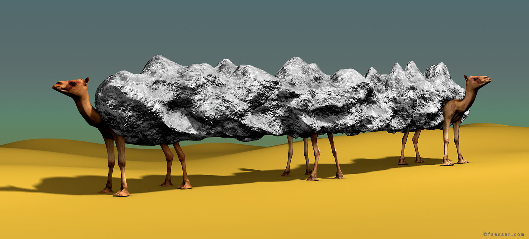 Mountain-Camels: Public sculpture study for the Emirates; artist Roland Faesser, sculptor and painter 2011