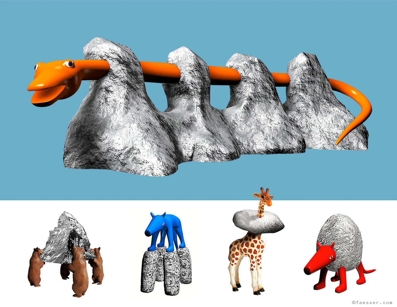 Five Swiss Mountain Playground mutants as climbing sculptures for children; artist Roland Faesser, sculptor and painter 2003