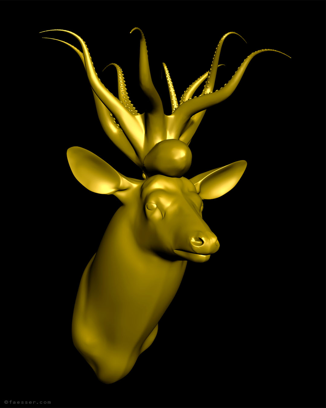 Goldfingers: golden deer trophy with golden squid sculpture as antlers; work of art as figurative sculpture; artist Roland Faesser, sculptor and painter 2017